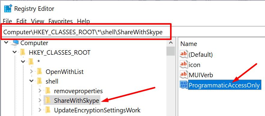 Comparta el shell del editor de registro con Skype