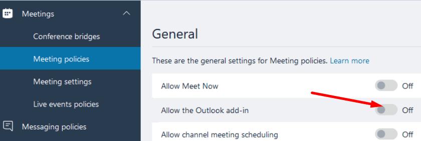 Habilitar las políticas de reuniones del complemento de Outlook para Microsoft Teams