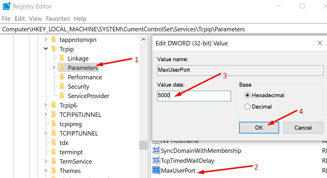 Edite los parámetros de TCPIP