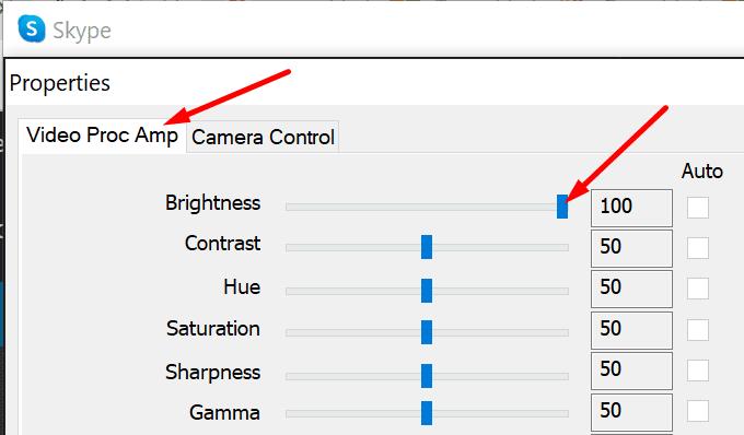 Cambiar el brillo de la cámara de Skype