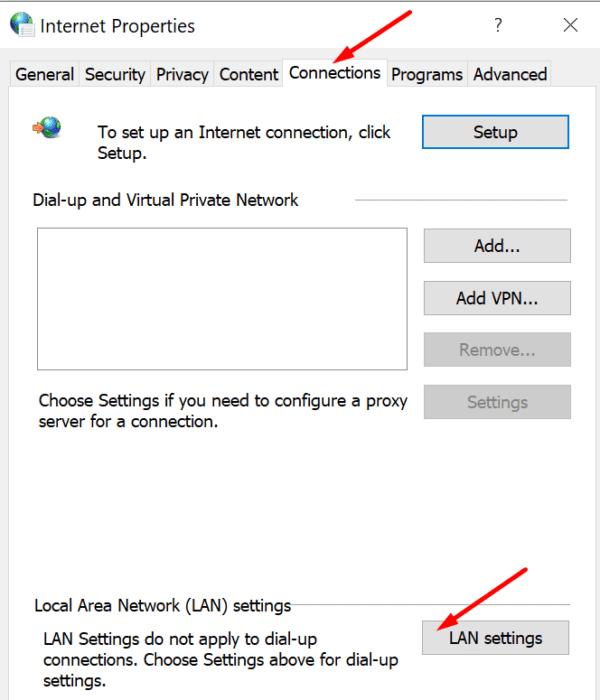 Configuración de LAN Opciones de Internet