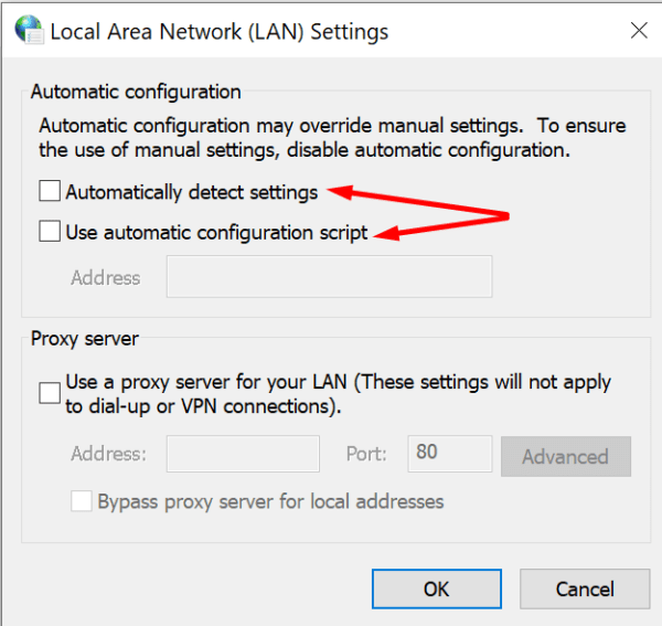 Configuración de LAN proxy automático