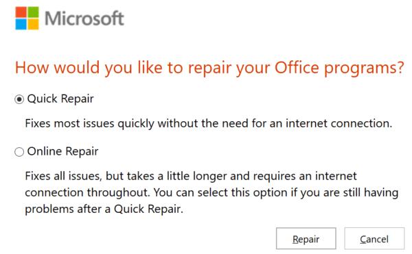 Herramienta de reparación de Microsoft Office
