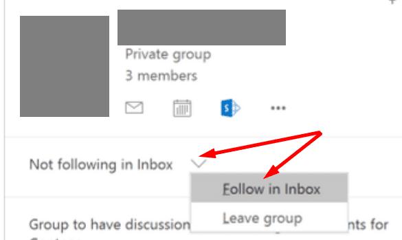 Siga el grupo de Outlook en la bandeja de entrada