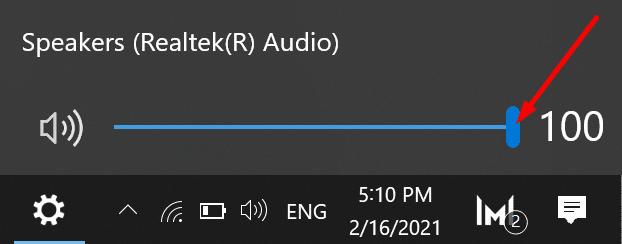 Control de volumen de audio de Windows 10
