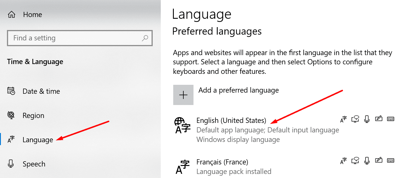 Ventana de configuración de idioma preferido 10