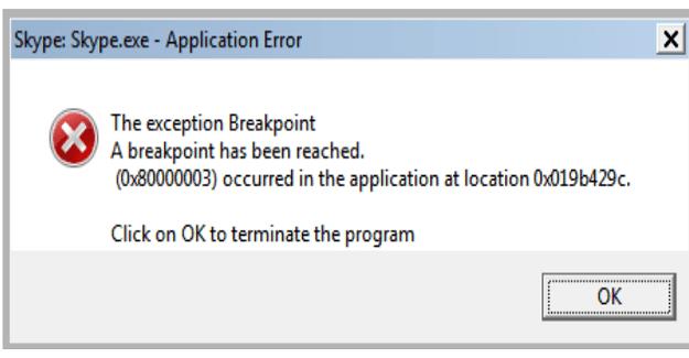 Cómo reparar el error de punto de interrupción de excepción de Skype