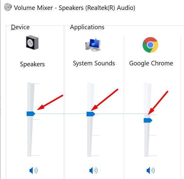 Altavoces mezcladores de volumen de Windows 10