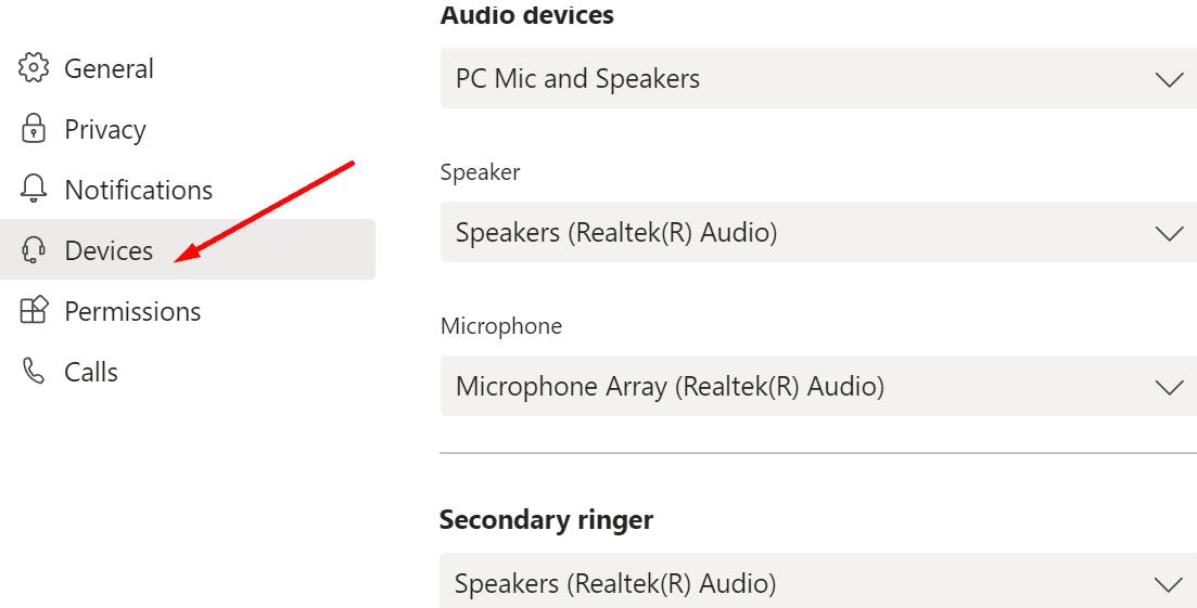 Configuración de audio de equipos de Microsoft