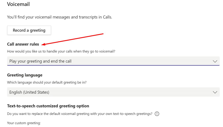 Reglas de respuesta de llamadas de los equipos