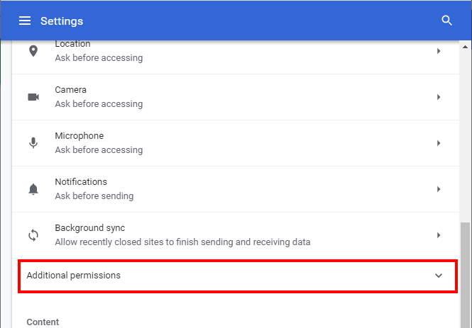 Permisos adicionales de Chrome