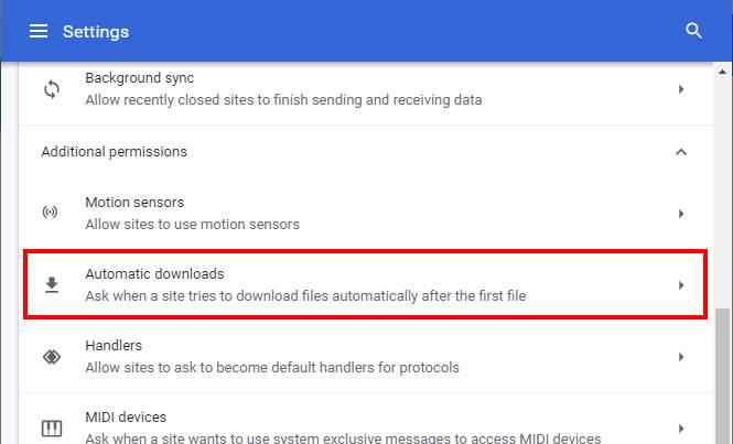 Descargas automáticas de Chrome