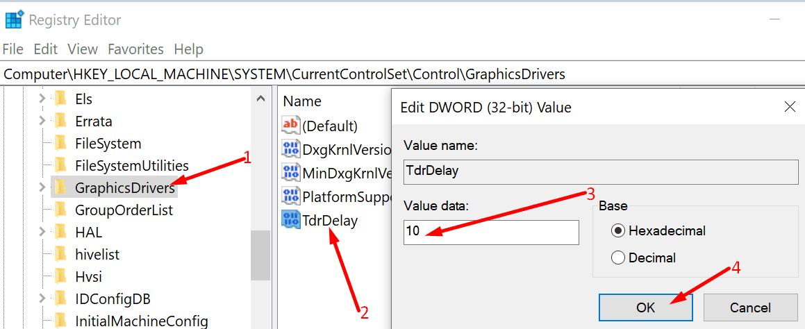 TdrDelay Registry Editor de Windows 10