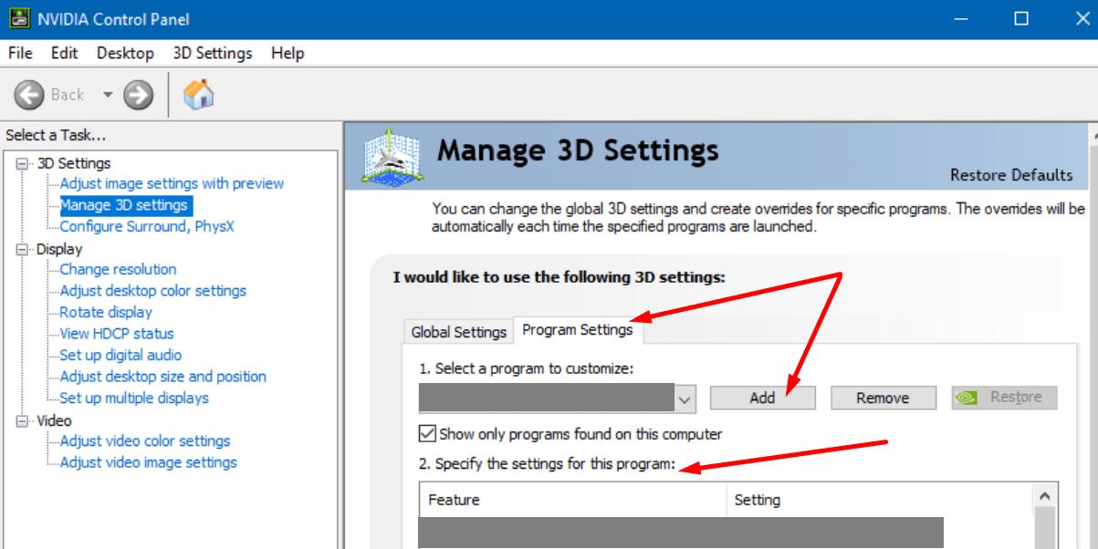nvidia administra la configuración 3D y la configuración del programa