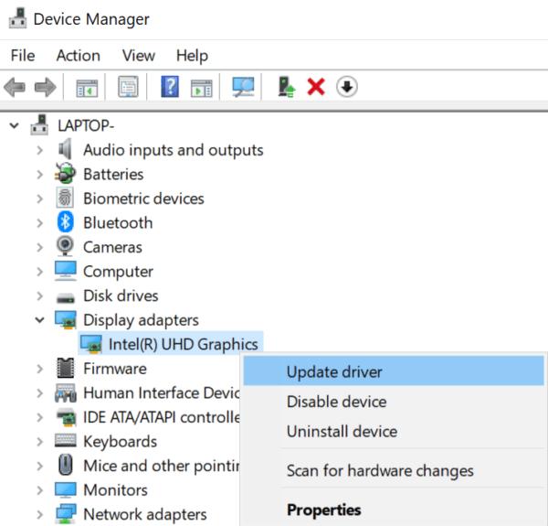 Actualice el controlador del adaptador de pantalla