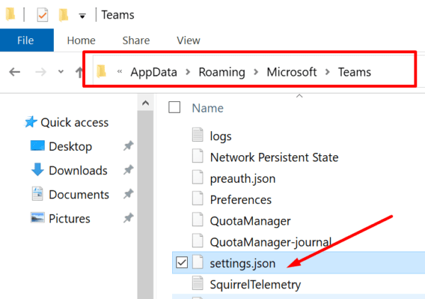 Archivo settings.json de Teams