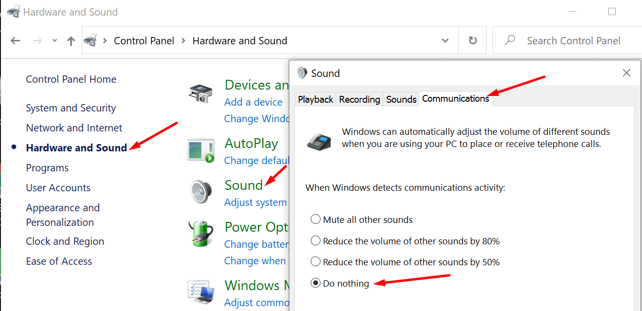 No haga nada si Windows detecta actividad de comunicación