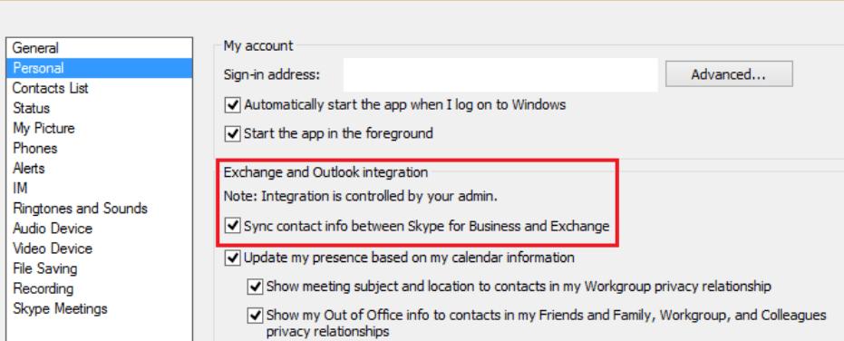 Sincronizar la información de contacto entre Skype Empresarial y Exchange