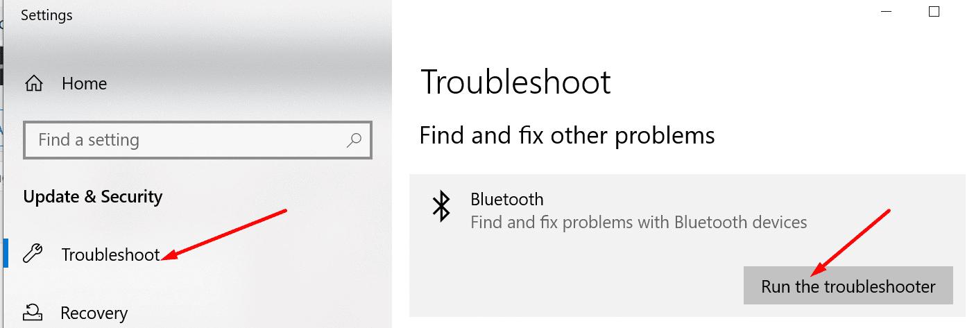 Solución de problemas de Bluetooth Windows 10