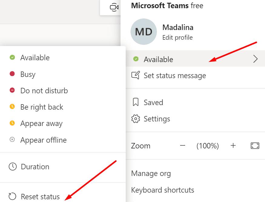 Restablecer el estado de Microsoft Teams