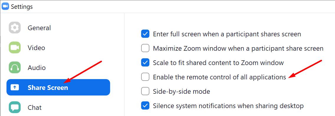 Zoom permite el control remoto de todas las aplicaciones