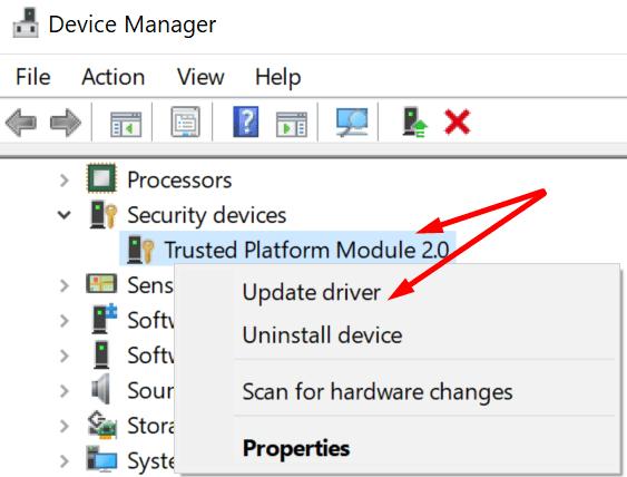 Actualizar el módulo de plataforma confiable