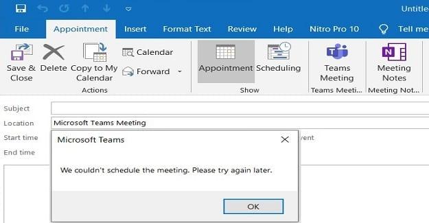 Equipos en Outlook: no pudimos programar la reunión