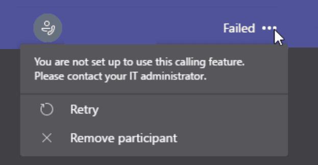 Equipos: no está configurado para usar esta función de llamada