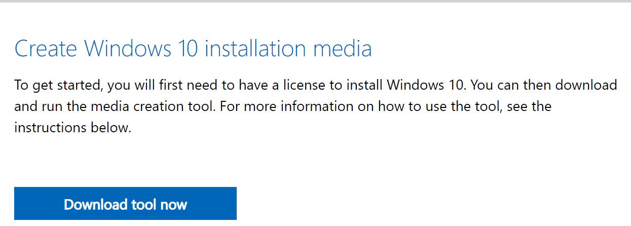 Crear medios de instalación de Windows 10