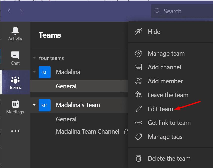 Equipo de edición de equipos de Microsoft