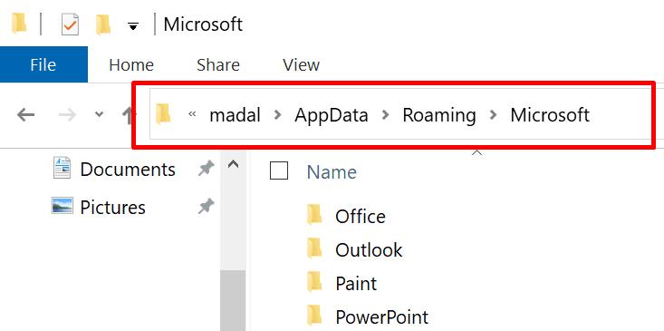 Carpeta de itinerancia de datos de la aplicación Microsoft