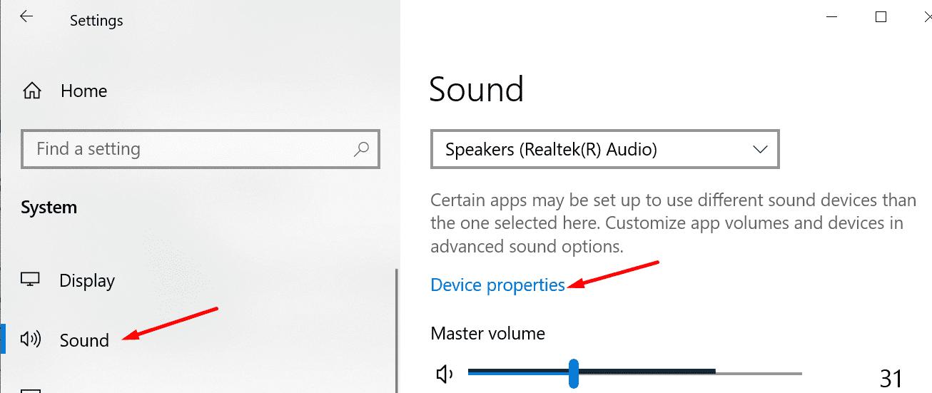 Propiedades del dispositivo de audio Windows 10
