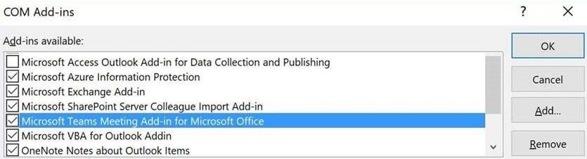 Complemento de reunión de Microsoft Teams para Office