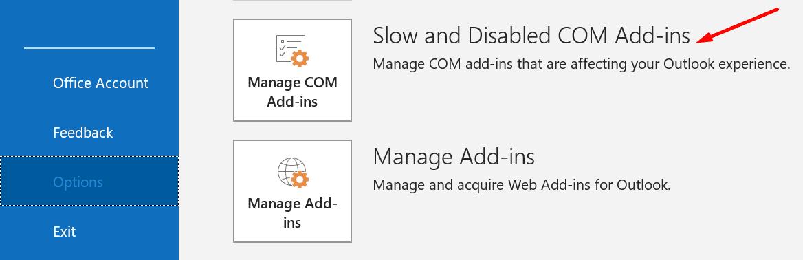 Outlook administra los complementos COM