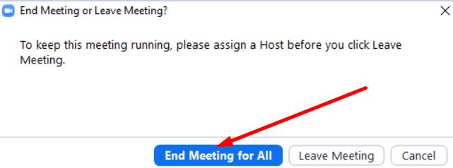 Finalizar reunión para todos Zoom