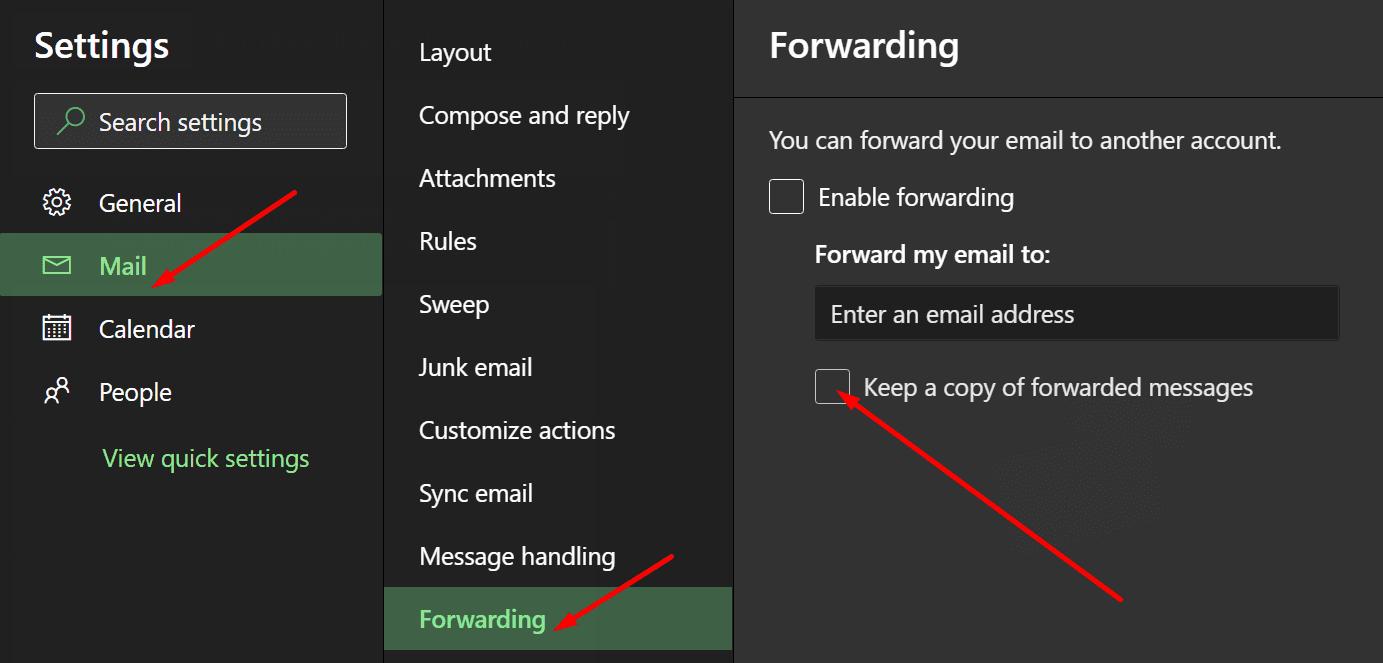 Outlook guarda copias de los mensajes reenviados