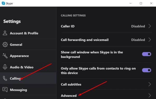 configuración avanzada para llamadas de Skype