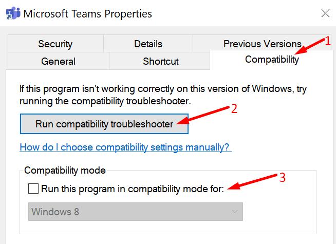 Ejecute el solucionador de problemas de compatibilidad de Microsoft Teams