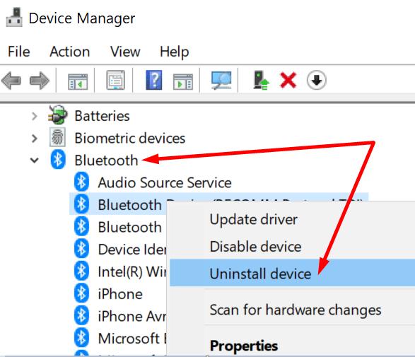 Desinstale el Administrador de dispositivos para dispositivos Bluetooth