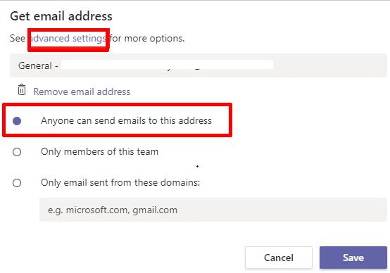 Los equipos permiten que cualquier persona envíe correo electrónico a esta dirección