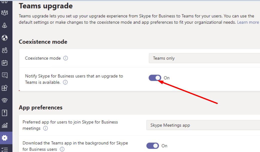 Notificar a los usuarios de Skype empresarial que se actualizan a Teams