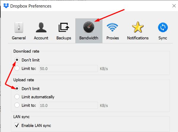 Configuración de ancho de banda de descarga de carga de Dropbox