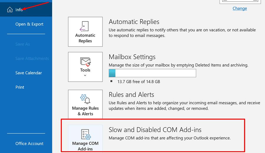 Complementos de Outlook lentos y deshabilitados