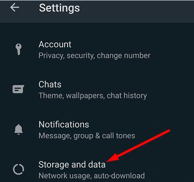 Almacenamiento y datos de WhatsApp