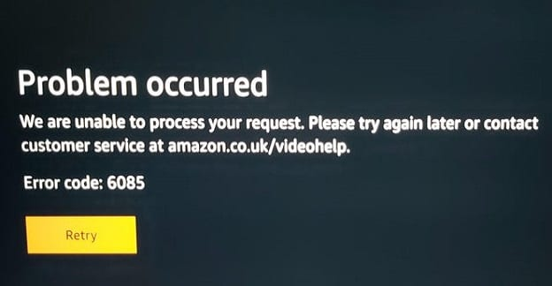 Cómo reparar el error de video de Amazon Prime 6085