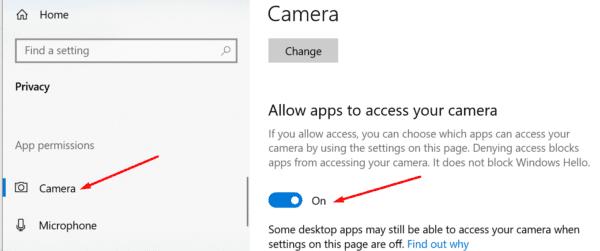 Configuraciones para la privacidad de la cámara