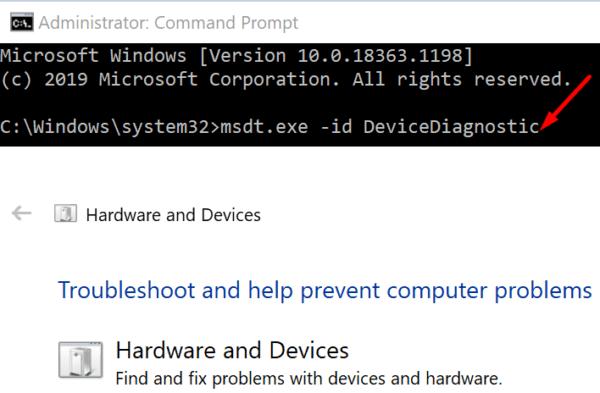 Ejecute el solucionador de problemas de hardware para Windows 10