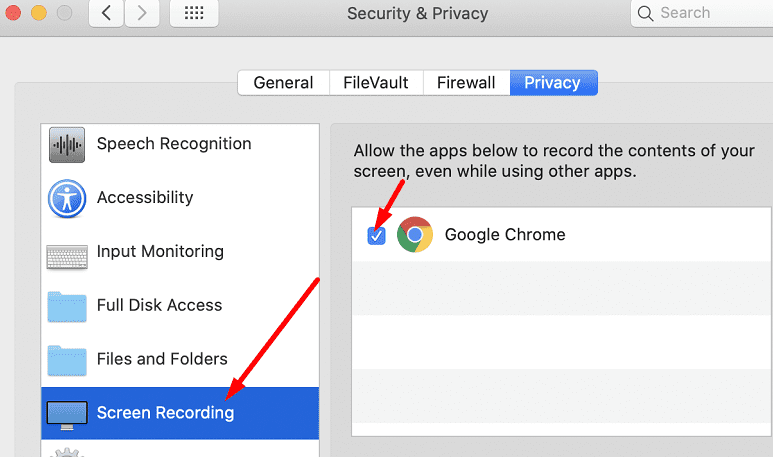 Permitir grabación de pantalla Google Chrome MacOS