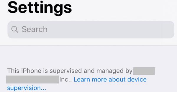 Este iPhone está monitoreado y administrado