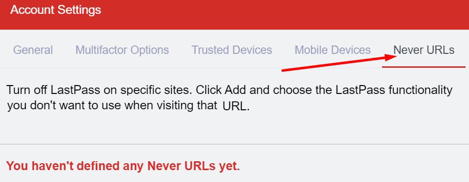 lastpass nunca URL